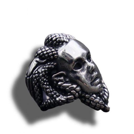 Bague Serpent Acier Tete de Gorgone pas cher
