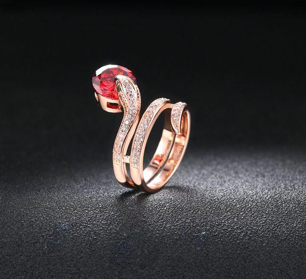 Bague Serpent Acier Zircon Rouge Femme