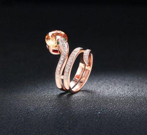 Bague Serpent Acier Zircon Rouge qualité prix
