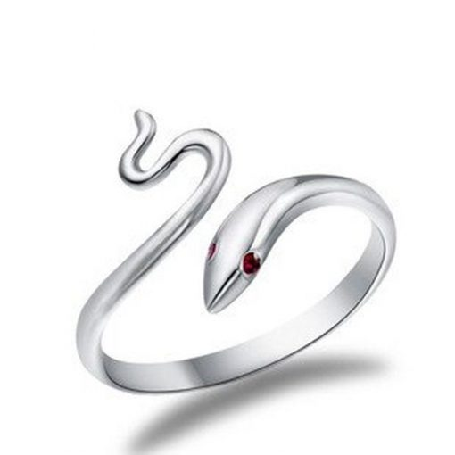 Bague Serpent Argent Couleuvre yeux rubis