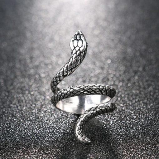 Bague Serpent Enroulée Simple Argentée Femme