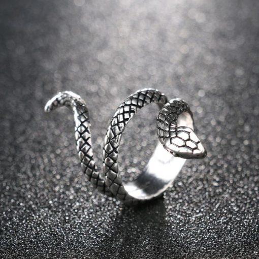 Bague Serpent Enroulée Simple Argentée Homme