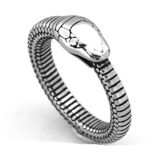 Bague Serpent Ouroboros Ecaille Acier présentation