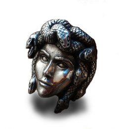 Bague Serpent Tête de Méduse Acier pas cher 2