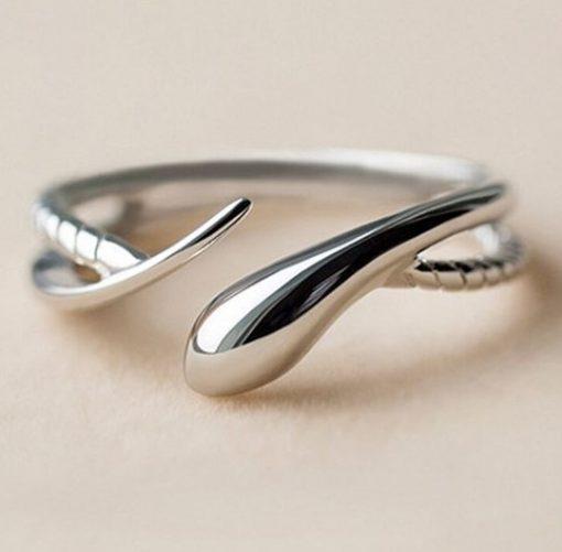 Bague serpent argent double anneau femme belle