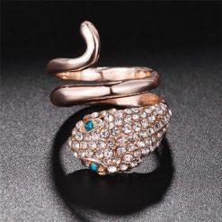 Bagues Serpent Acier Or Rose et Saphirs mariage