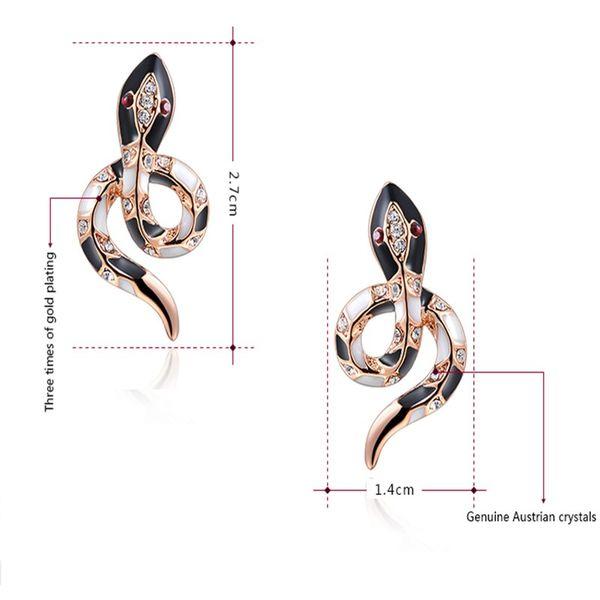 Boucles d'Oreilles Serpent Ornementés Noires et Blanches dimensions