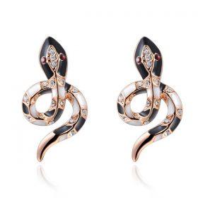 Boucles d'Oreilles Serpent Orenementés Noires et Blanches or
