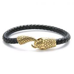 Bracelet Serpent Viking Cuir Tressé pas cher qualité prix