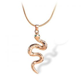 Collier Serpent Regard Emeraude Argent Or