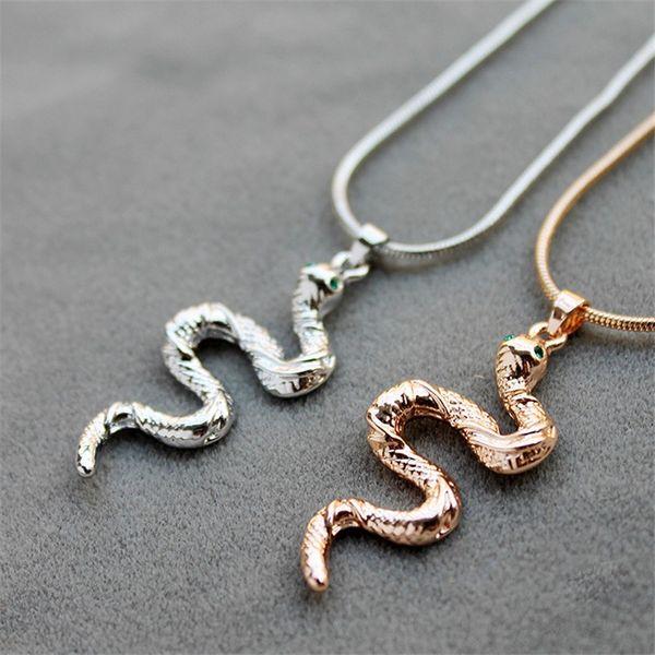 Collier Serpent Regard Emeraude Argent femme