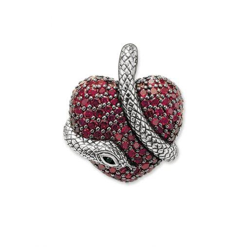 Pendentif Serpent Argent Coeur Rubis acheter