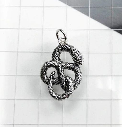 Pendentif Serpent Argent Esprit de Sagesse vintage