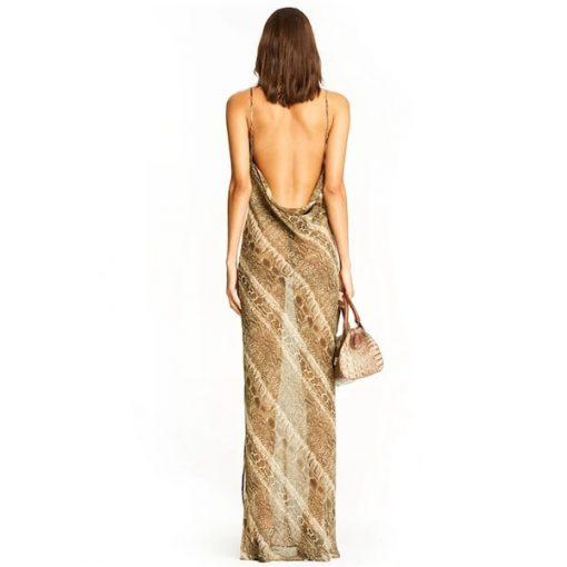 Robe Imprimée Serpent Longue Echancrée femme dos