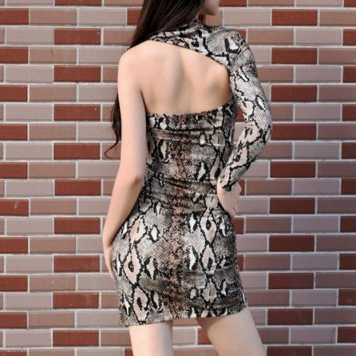 Robes Imprimée Serpent Epaule Unique Sexy Femme Fatale