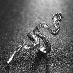 bague serpent acier boa rampant femme