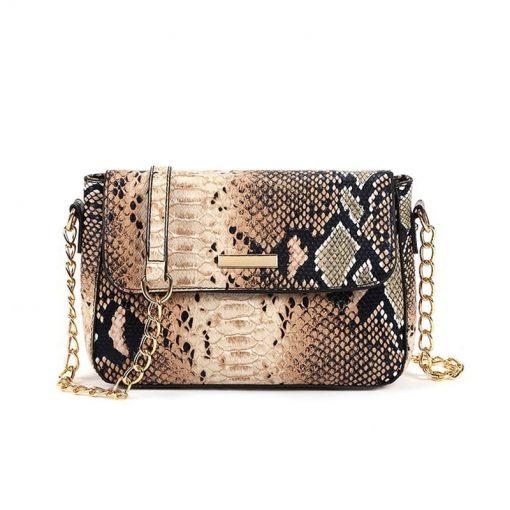 sac à main serpent imitation Python femme beige