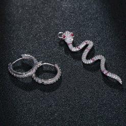 Boucles d'Oreilles Serpent Anneaux Pierres Roses acheter