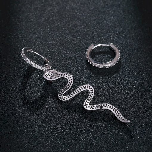 Boucles d'Oreilles Serpent Anneaux Pierres Roses femme