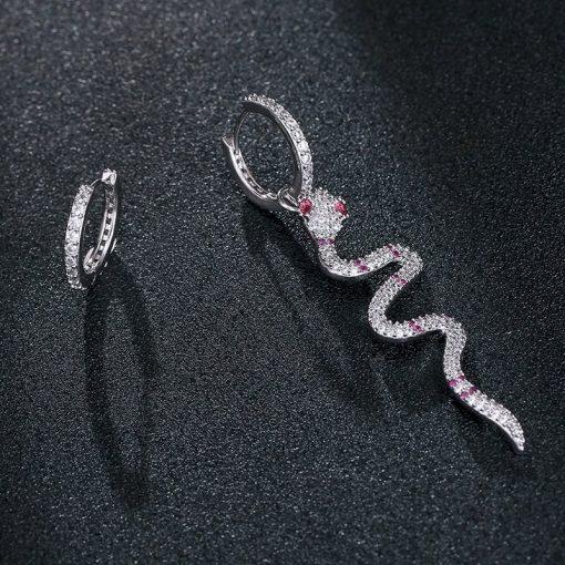Boucles d'Oreilles Serpent Anneaux Pierres Roses pas cher