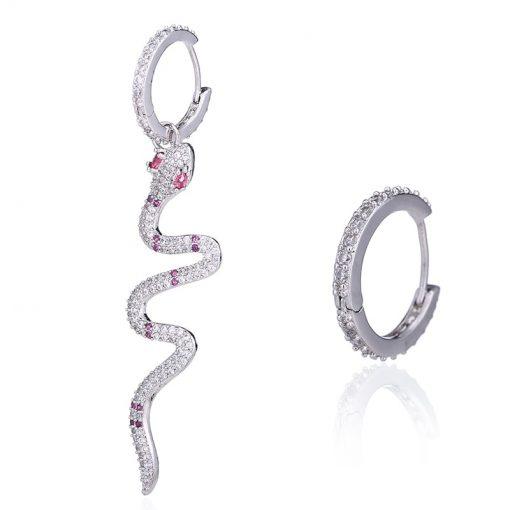 Boucles d'Oreilles Serpent Anneaux Pierres Roses qualité prix