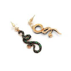 Boucles d'Oreilles Serpent Noires Pierres Vertes femme
