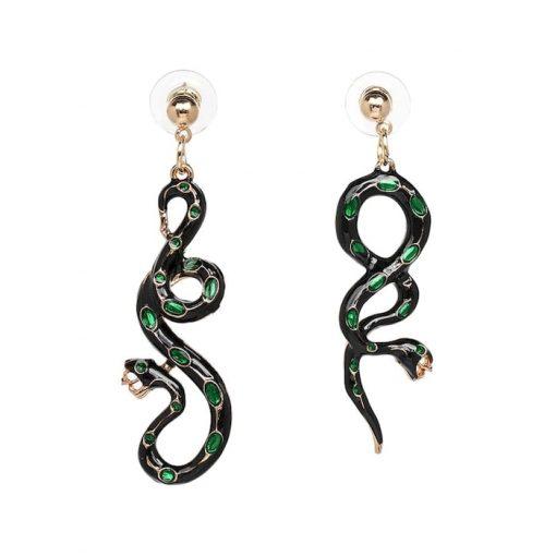 Boucles d'Oreilles Serpent Noires Pierres Vertes qualité prix