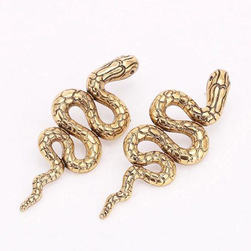 Boucles d'Oreilles Serpent Python Vintage pas cher