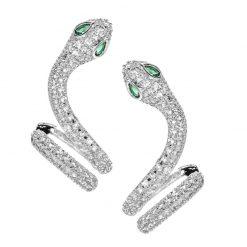 Boucles d'Oreilles Serpent Zirconium et Pierres argent vert
