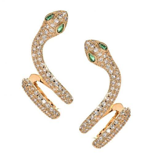 Boucles d'Oreilles Serpent Zirconium et Pierres or vertes