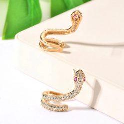 Boucles d'Oreilles Serpent Zirconium et Pierres or vertes acheter