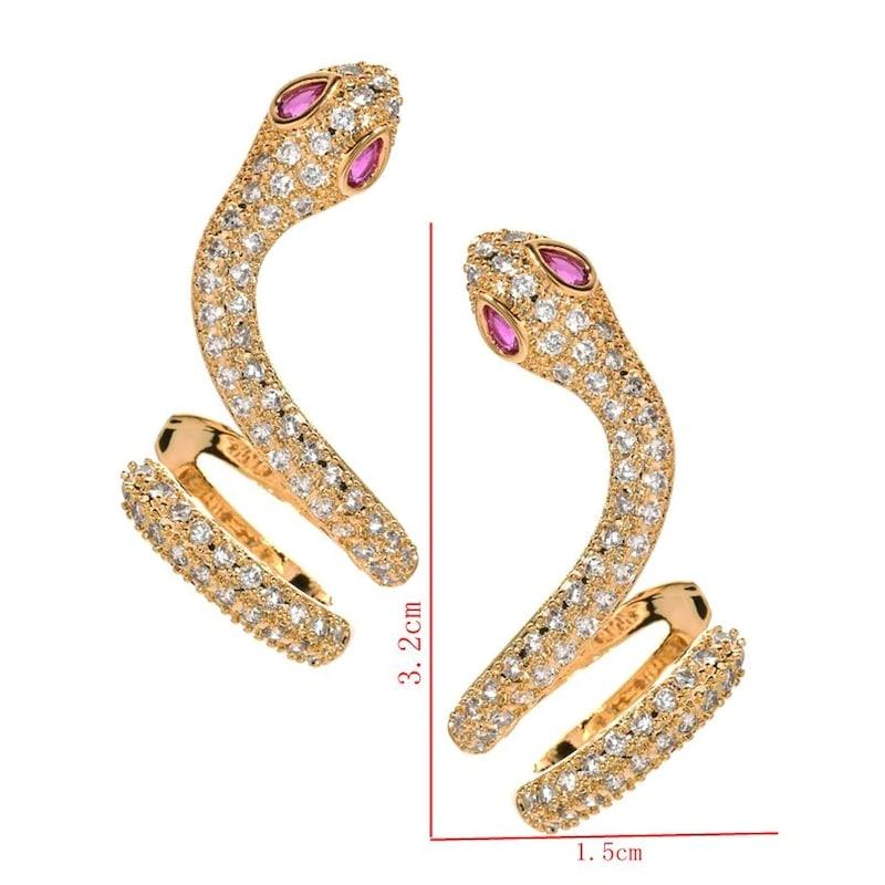 Boucles d'Oreilles Serpent Zirconium et Pierres or vertes dimensions