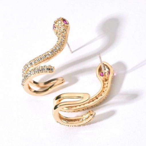 Boucles d'Oreilles Serpent Zirconium et Pierres or vertes femme