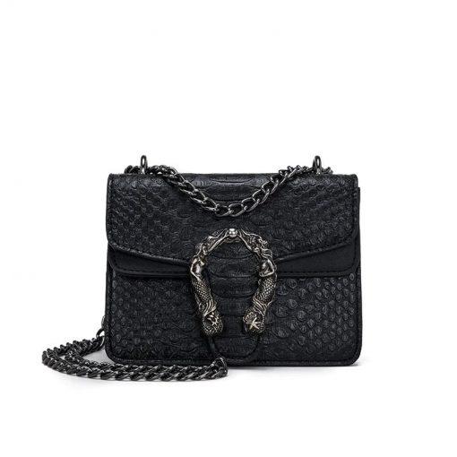 sac à main Serpent Aligator Petit Modèle Noir