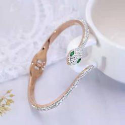Bracelet Serpent Brillant Yeux Verts pas cher