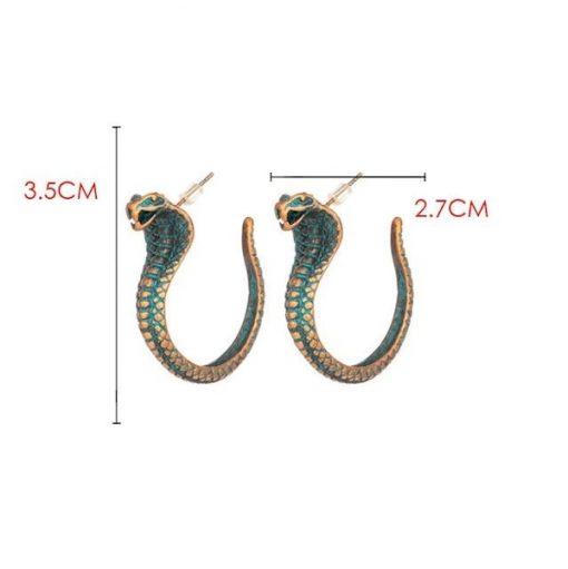 Boucles d'Oreilles Serpent Cobra Vintage dimensions