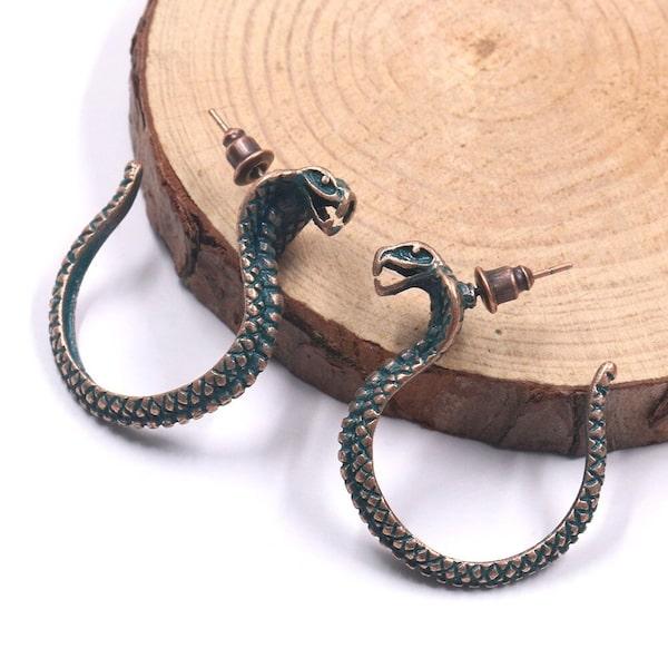 Boucles d'Oreilles Serpent Cobra Vintage pas cher