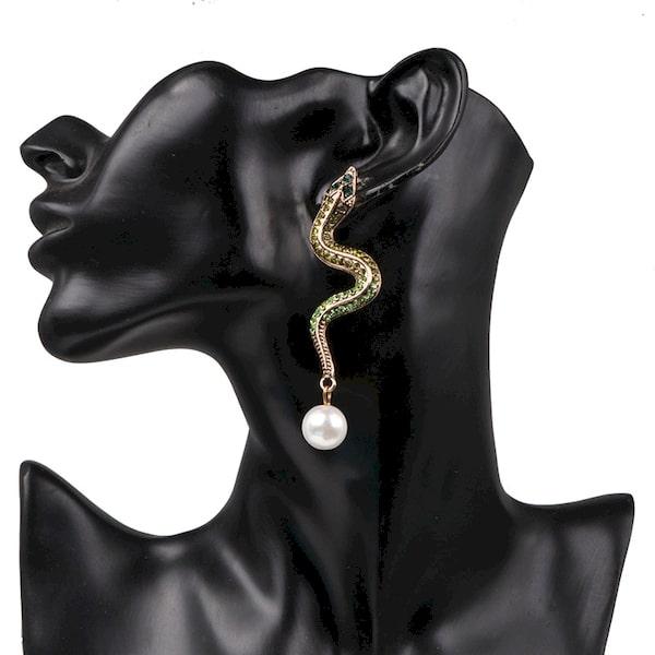 Boucle d'Oreilles Serpent Perle Nacrée acheter