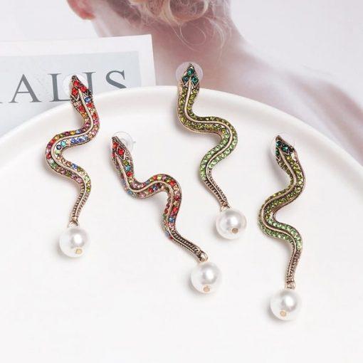 Boucle d'Oreilles Serpent Perle Nacrée pas cher