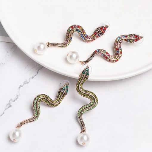 Boucle d'Oreilles Serpent Perle Nacrée qualité prix