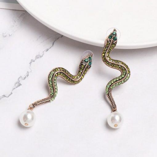 Boucle d'Oreilles Serpent Perle Nacrée sexy