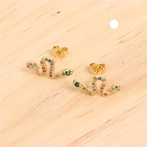 Boucles d'Oreilles Serpent Cristaux Multi-Colorés achat