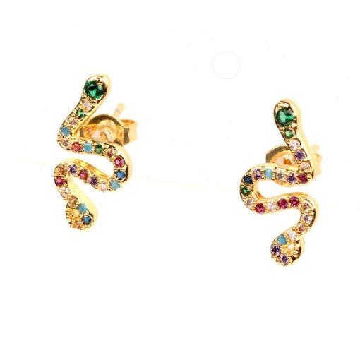 Boucles d'Oreilles Serpent Cristaux Multi-Colorés acheter