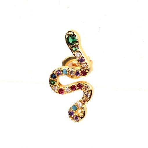 Boucles d'Oreilles Serpent Cristaux Multi-Colorés pas cher