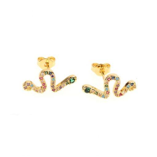 Boucles d'Oreilles Serpent Cristaux Multi-Colorés qualité prix