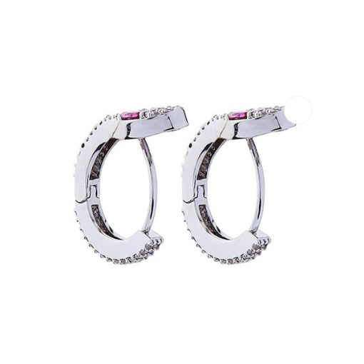 Boucles d'Oreilles Serpent Design Yeux Roses acheter