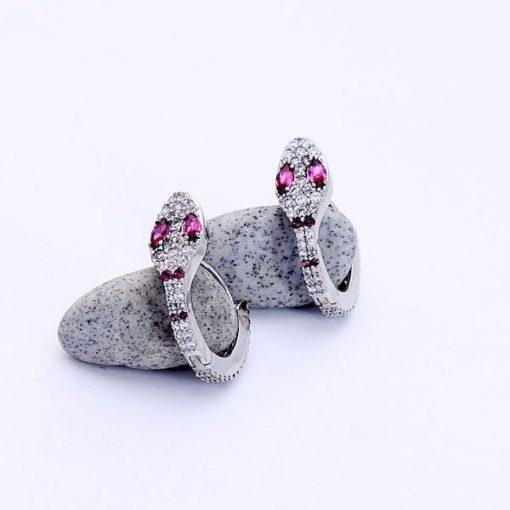 Boucles d'Oreilles Serpent Design Yeux Roses en cuivre
