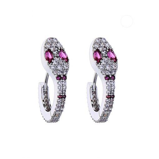 Boucles d'Oreilles Serpent Design Yeux Roses qualité prix